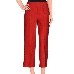 LES COPAINS Red Wide Leg Ankle Cropped Pants 44